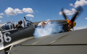 Picture Mustang, Smoke, Screw, Fighter, USAF, Pilot, The Second World War, North American P-51 Mustang, P-51B …