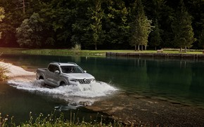 Picture wave, Renault, pickup, pond, 4x4, Ford, 2017, Alaskan, gray-silver