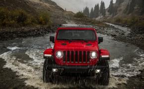 Picture red, stream, rain, the front, 2018, Jeep, Wrangler Rubicon
