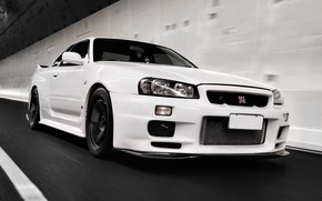 Picture white, speed, nissan, Nissan, gt-r, nissan gt-r