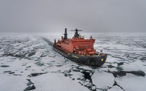 Picture The ocean, Sea, Ice, Icebreaker, The ship, Russia, Ice, 50 years of Victory, Atomflot, Arktika-class, ...