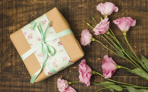 Picture flowers, gift, pink, pink, flowers, eustoma, gift box, eustoma