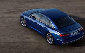 Picture blue, Audi, top, sedan, side, Audi A6, 2019, Audi S6