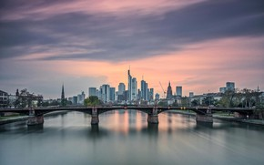 Picture bridge, the city, Frankfurt am Main