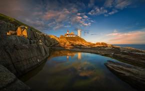 Picture sea, landscape, sunset, nature, stones, rocks, France, lighthouse, Brittany, Pointe Saint-Mathieu, Pawel Kucharski, headland Saint-Mathieu