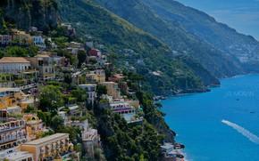 Picture sea, landscape, mountains, home, Italy, Positano