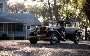 Picture car, house, trees, black car, classic car, Oldtimer, Ruxton Model C
