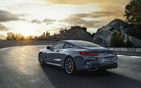 Picture sunset, coupe, turn, BMW, Coupe, 2018, gray-blue, 8-Series, pale blue, M850i xDrive, Eight, G15