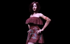 Picture girl, model, black background