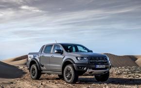 Picture sand, clouds, grey, desert, Ford, Raptor, pickup, Ranger, 2019