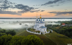 Picture landscape, nature, fog, field, morning, temple, the village, Ilya Garbuzov, Yepifan', Tula