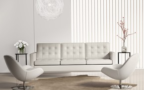 Picture flowers, design, grey, sofa, interior, chairs, chandelier, living room, vases, modern, tables