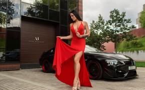 Picture machine, auto, girl, pose, style, model, BMW, dress, tattoo, the cut, red dress, Alex Bazilev, …