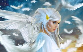 Picture girl, angel, feathers, white wings