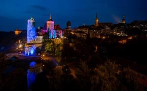 Picture trees, night, lights, river, home, Germany, lights, tower, bridges, Bautzen
