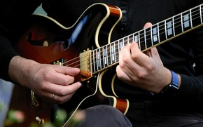 Picture music, the game, watch, guitar, strings, hands, male, musical instrument, wrist