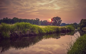 Picture Sunset, River, Bank
