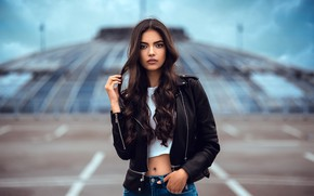 Picture look, pose, model, portrait, jeans, makeup, Mike, jacket, hairstyle, brown hair, beauty, kozhanka, Laura, Anatoly …