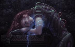 Picture dark, girl, fantasy, robot, android, cyberpunk, redhead, artwork, fantasy art, Cyborg, fantasy girl, downloading