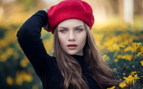 Picture eyes, look, girl, flowers, takes, Zubair Aslam