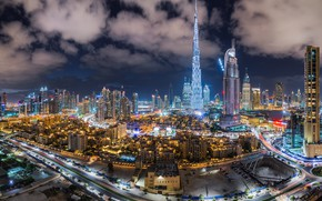 Picture road, clouds, night, the city, lights, view, building, tower, skyscrapers, the evening, highway, Dubai, architecture, …