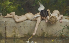 Picture Salvation, French painter, Emile Munier, 1894, French painter, oil on canvas, Emil Munie, A rescue, …