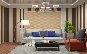 Picture sofa, furniture, lamp, living room, pillow, chess