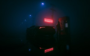 Picture Reflection, Auto, Fog, Music, Neon, People, Machine, Style, Lantern, Lights, Background, Car, Car, Coca-Cola, Render, …