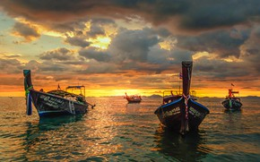 Picture sea, sunset, boats, Thailand