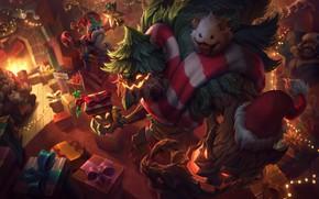 Picture Christmas, League of Legends, Veigar, Graves, Braum, Poro, Maokai