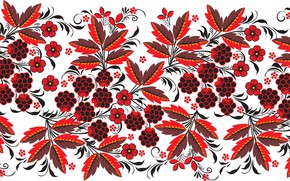 Picture leaves, flowers, berries, pattern, Khokhloma, BlackBerry