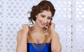 Picture girl, smile, beautiful, model, brunette, pose, indian, actress, celebrity, bollywood, jewelery, Niharica raizada