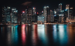 Picture night, the city, lights, Singapore