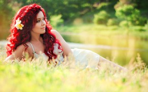 Picture girl, hair, meadow, red, curls, sundress, red hair, Yummy Alice