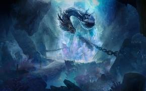 Picture Dragon, Chain, Fantasy, Dragon, Art, Art, Fiction, Myth, by Zp Zhang, Zp Zhang
