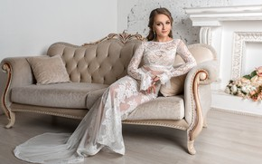 Picture the bride, sofa, flowers, sweetheart, dress, girl, beauty, Igor Kondakov, fireplace, Igor Kondukov