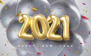 Picture balls, balls, figures, New year, confetti, 2021