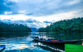 Picture forest, the sky, clouds, trees, lake, shore, boats, Thailand, Cheow Lan Lake, Khao Sok National …