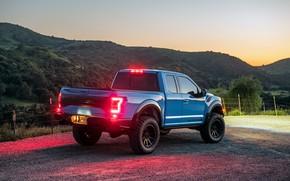 Picture sunset, lights, Ford, the evening, Raptor, pickup, F-150, Hennessey, 2019, VelociRaptor V8