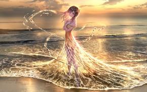 Picture beach, water, girl, sunset, magic