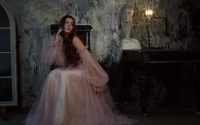 Picture look, girl, pose, dress, lamp, beautiful, Ермакова Янина
