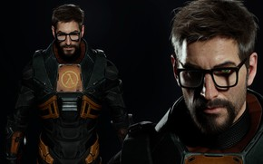 Picture eyes, look, shadow, the suit, glasses, half-life, details, gordon freeman, source 2