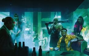 Picture Figure, The city, The game, Neon, People, Art, Cyborg, CD Projekt RED, Cyberpunk 2077, Cyberpunk, …