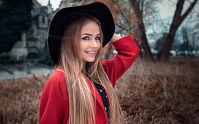 Picture trees, nature, pose, smile, background, model, portrait, hat, makeup, hairstyle, beauty, is, in red, coat, ...