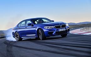 Picture smoke, BMW, sedan, rubber, BMW M5, 2017, M5, F90