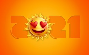 Picture the sun, background, Christmas, smile, New year, 2021