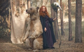 Picture forest, girl, skull, bear, staff, red, witch, redhead, Svetlana Nicotine