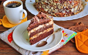 Picture coffee, cake, layers