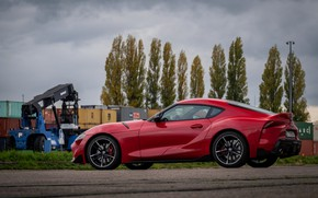 Picture red, coupe, Toyota, side view, Supra, the fifth generation, mk5, double, 2019, GR Above, A90, …