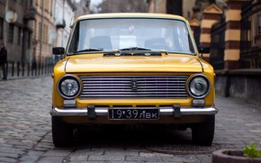 Picture car, the city, retro, fiat, penny, car, Yellow, front, front view, Russian, 2101, VAZ, Fiat, …
